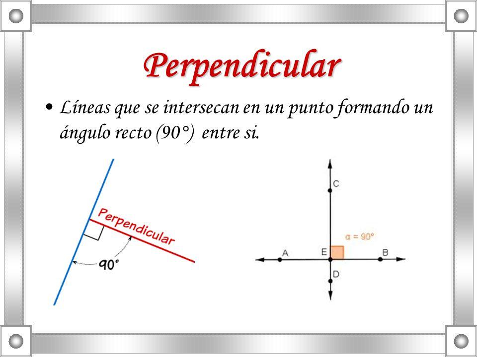 Perpendicular Líneas que se intersecan en un punto formando un ángulo recto (90°) entre si.