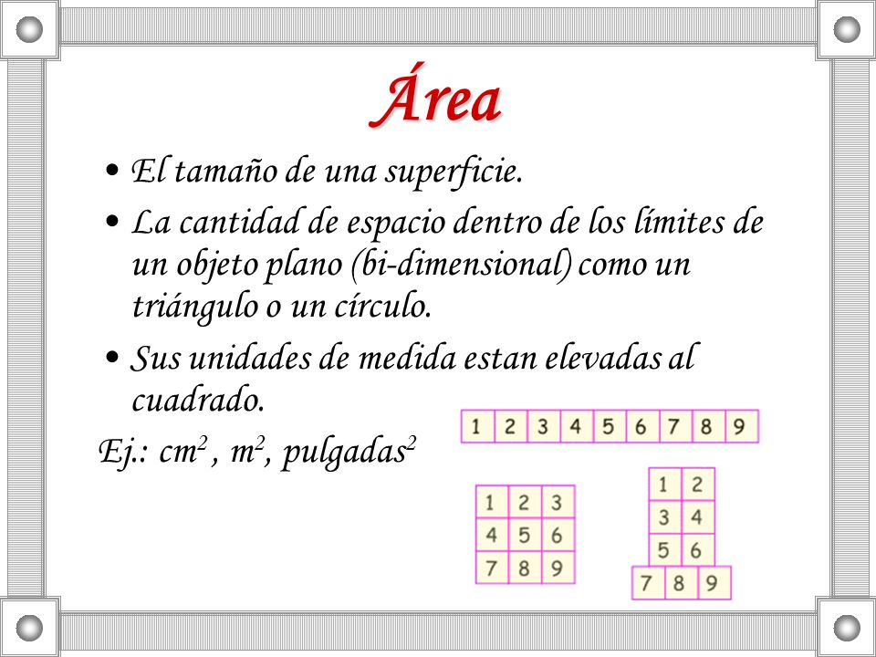 Área El tamaño de una superficie.