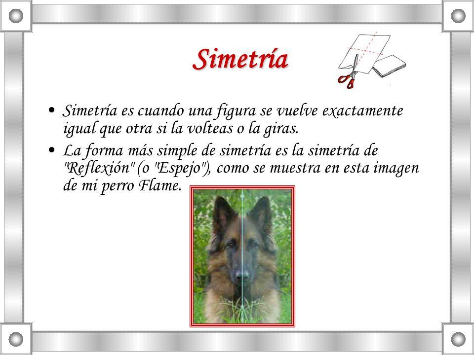 Simetría Simetría es cuando una figura se vuelve exactamente igual que otra si la volteas o la giras.