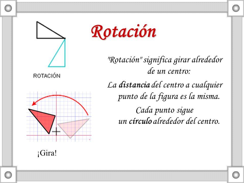 Rotación Rotación significa girar alrededor de un centro: