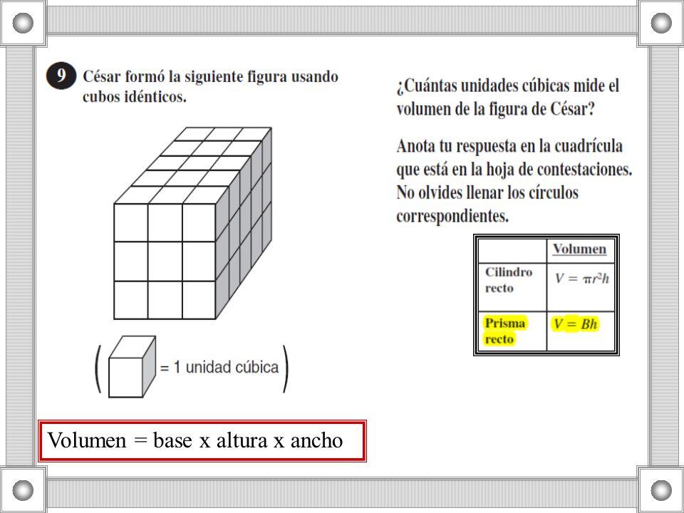 Volumen = base x altura x ancho