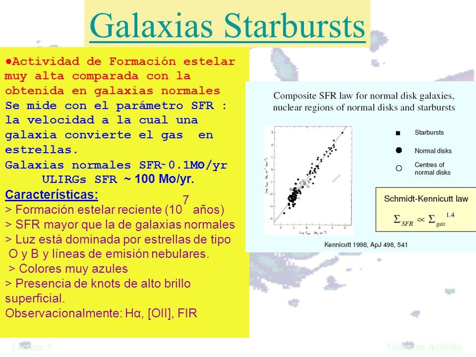 Galaxias Starbursts ●Actividad de Formación estelar muy alta comparada con la obtenida en galaxias normales.