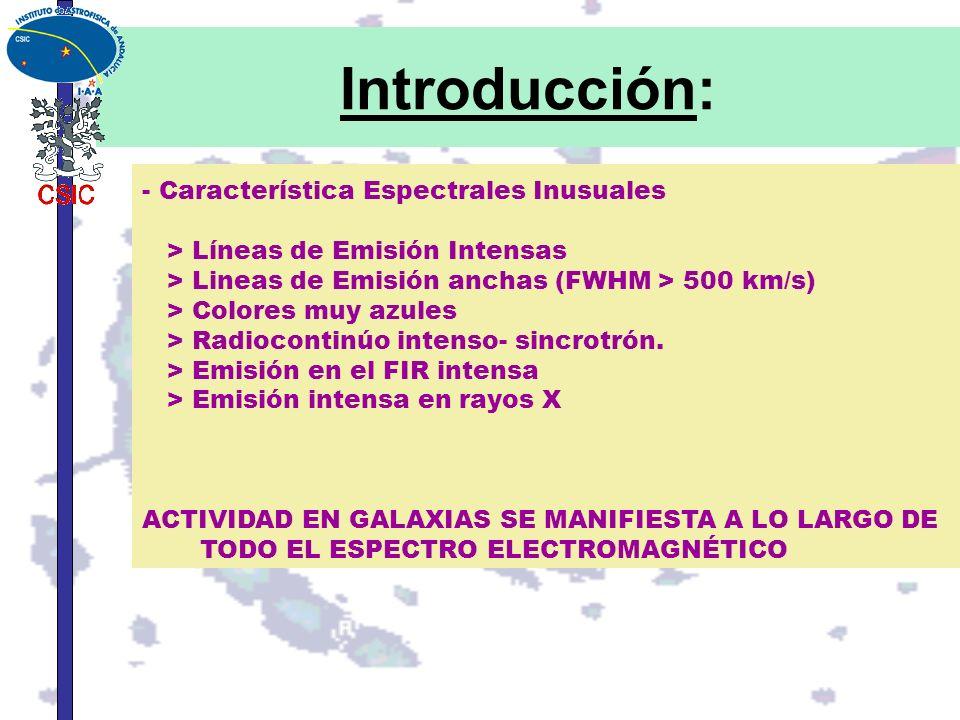 Introducción: - Característica Espectrales Inusuales