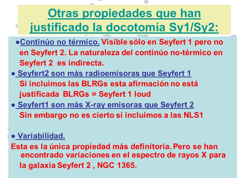 Otras propiedades que han justificado la docotomía Sy1/Sy2: