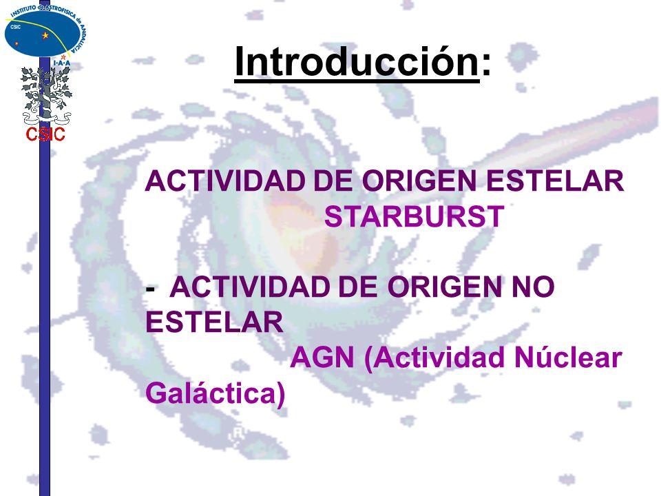 ACTIVIDAD DE ORIGEN ESTELAR STARBURST - ACTIVIDAD DE ORIGEN NO ESTELAR
