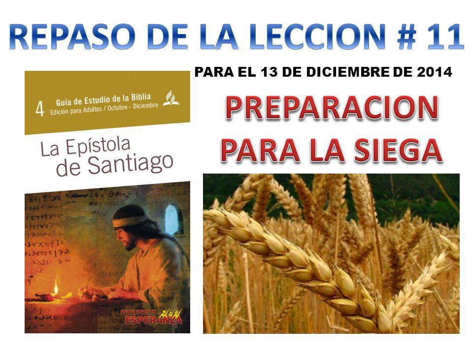 REPASO DE LA LECCION # 11 PREPARACION PARA LA SIEGA