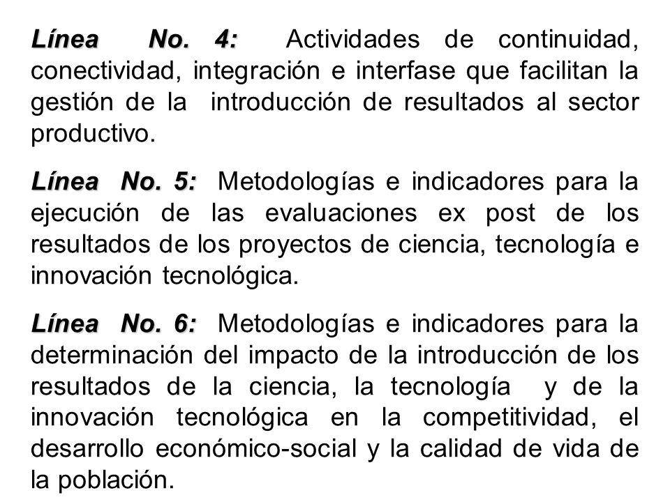 Línea No. 4: Actividades de continuidad, conectividad, integración e interfase que facilitan la gestión de la introducción de resultados al sector productivo.