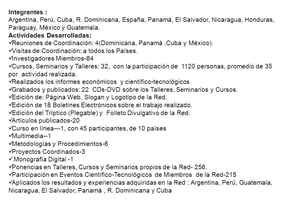 Integrantes : Argentina, Perú, Cuba, R. Dominicana, España, Panamá, El Salvador, Nicaragua, Honduras, Paraguay, México y Guatemala.