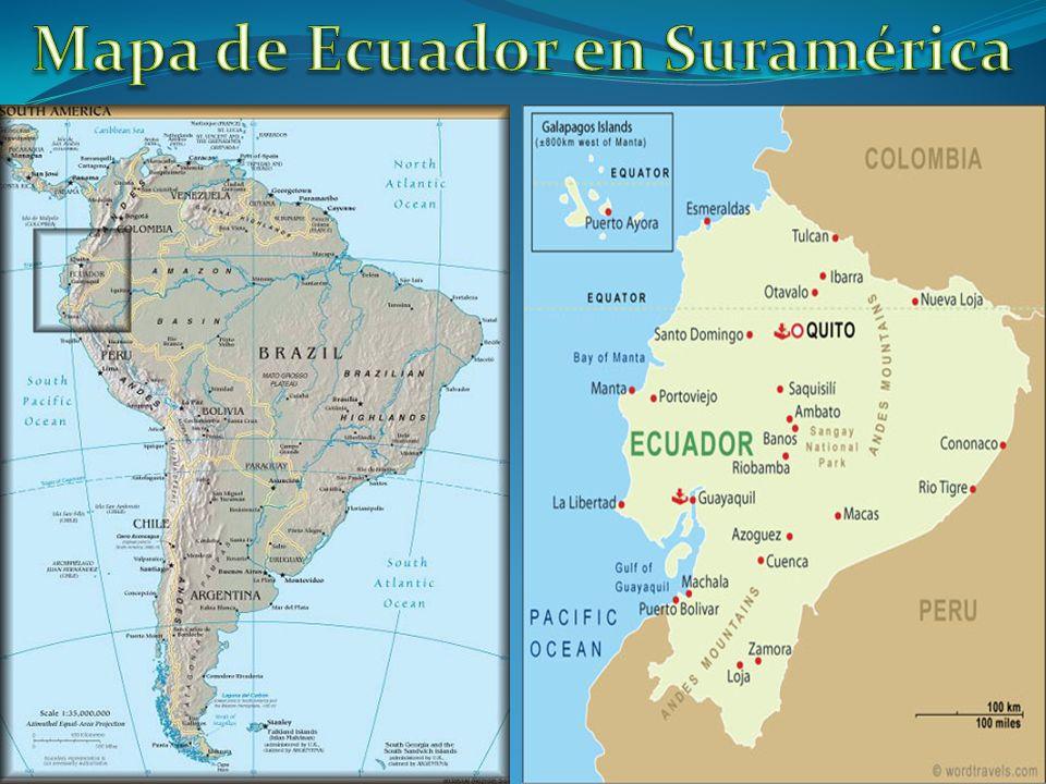 Mapa de Ecuador en Suramérica