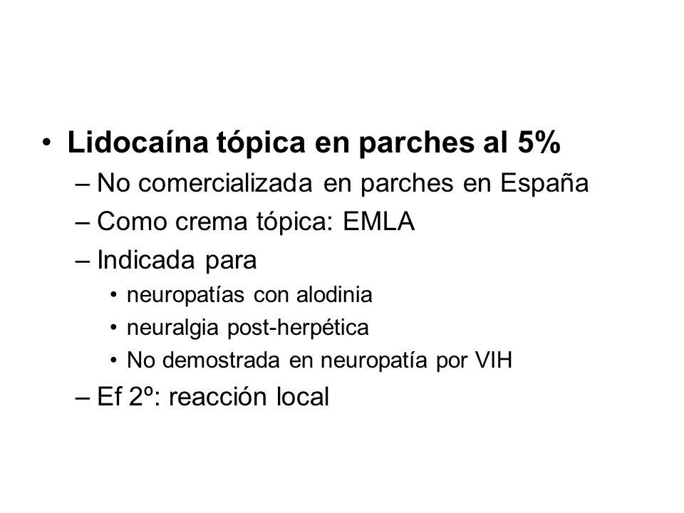 Lidocaína tópica en parches al 5%