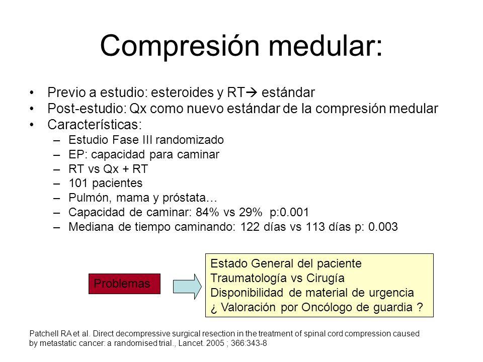 Compresión medular: Previo a estudio: esteroides y RT estándar