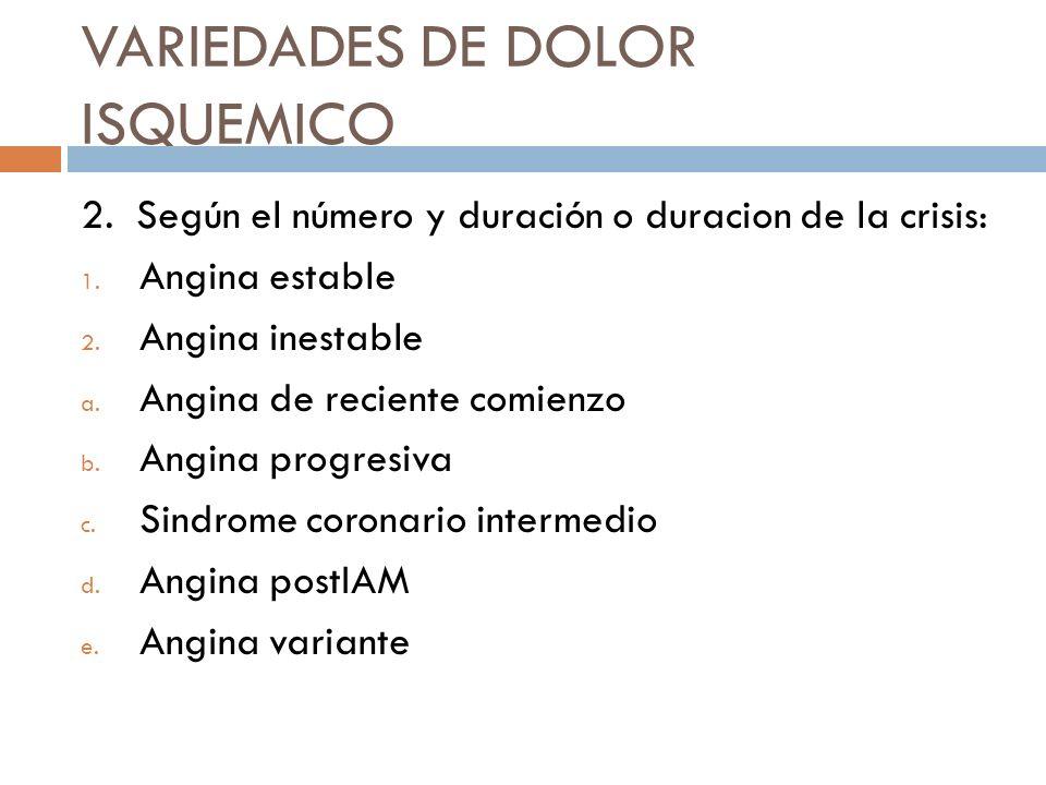 VARIEDADES DE DOLOR ISQUEMICO