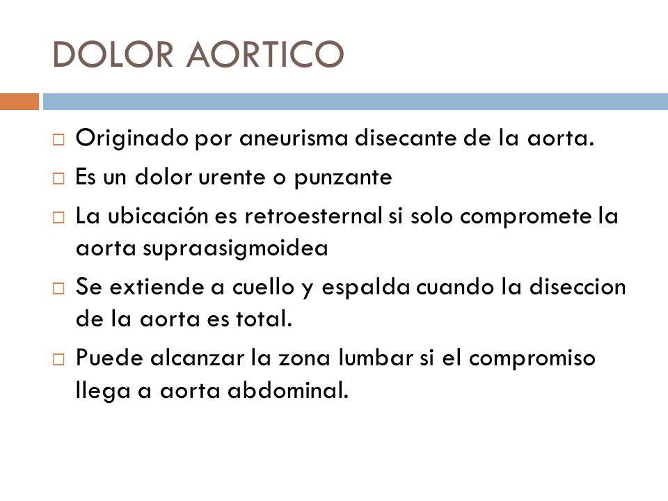 DOLOR AORTICO Originado por aneurisma disecante de la aorta.