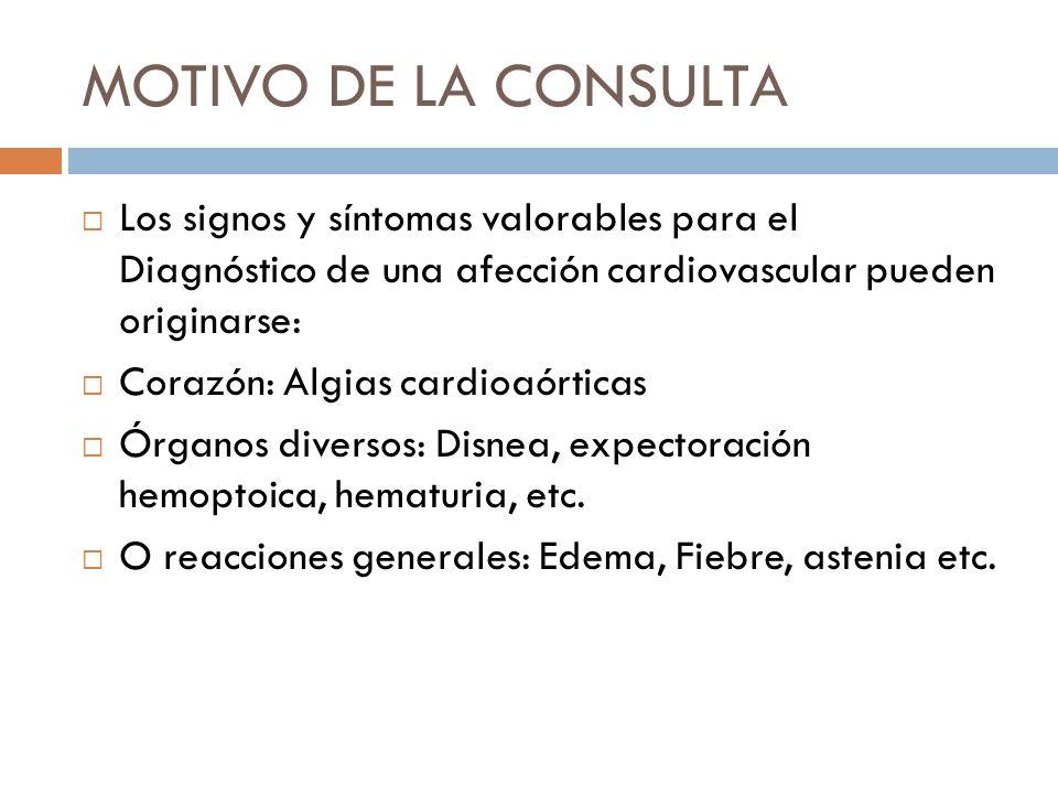 MOTIVO DE LA CONSULTA Los signos y síntomas valorables para el Diagnóstico de una afección cardiovascular pueden originarse: