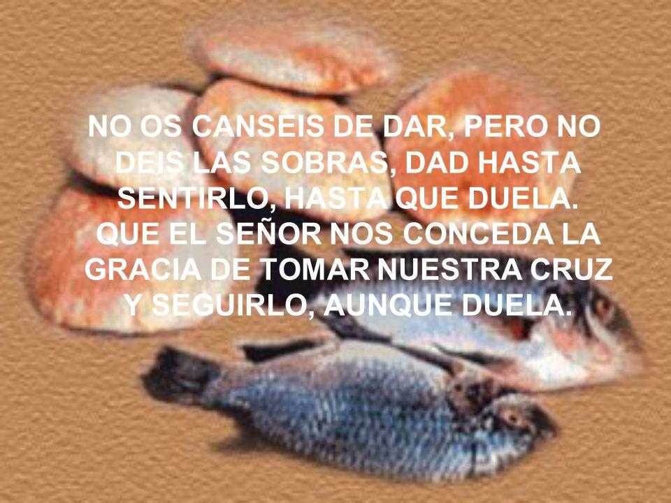 NO OS CANSEIS DE DAR, PERO NO DEIS LAS SOBRAS, DAD HASTA SENTIRLO, HASTA QUE DUELA.