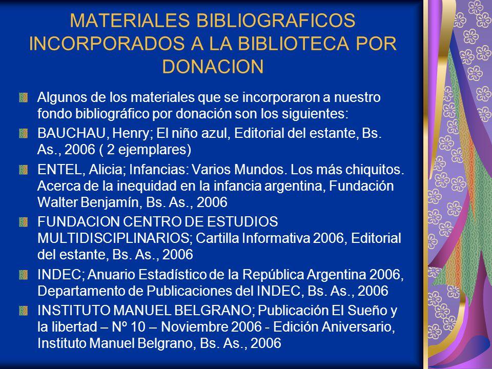 MATERIALES BIBLIOGRAFICOS INCORPORADOS A LA BIBLIOTECA POR DONACION