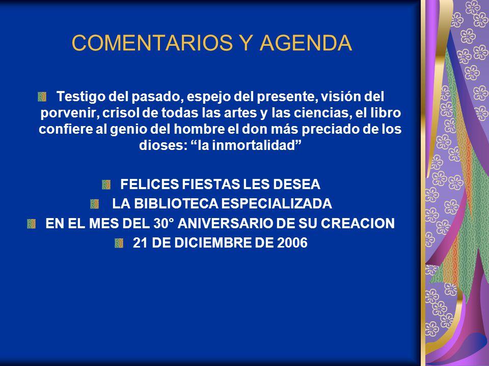 COMENTARIOS Y AGENDA