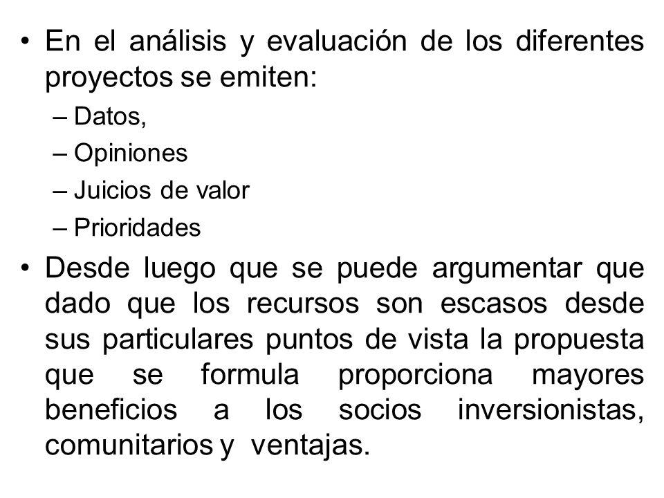 En el análisis y evaluación de los diferentes proyectos se emiten: