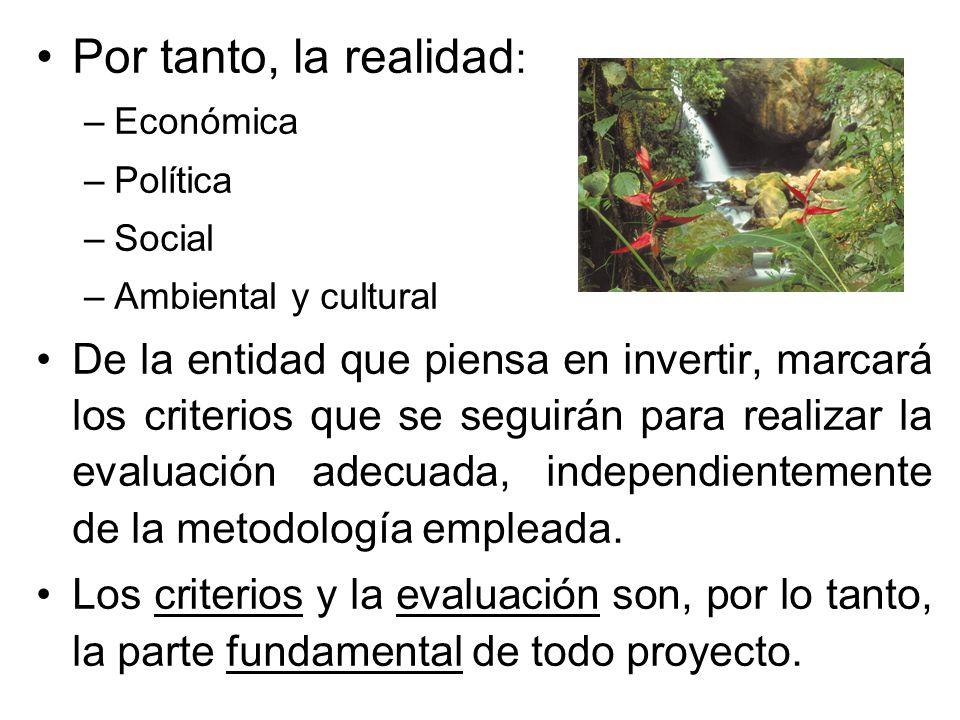 Por tanto, la realidad: Económica. Política. Social. Ambiental y cultural.