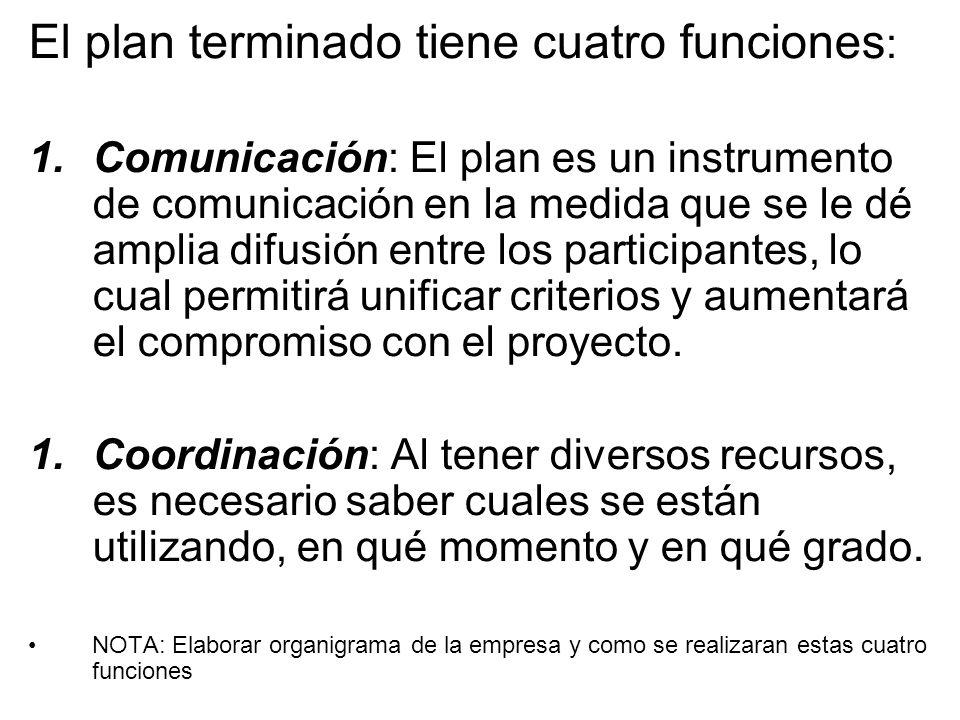 El plan terminado tiene cuatro funciones: