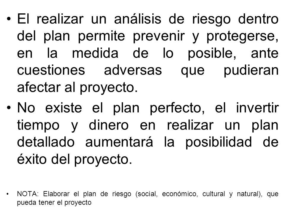El realizar un análisis de riesgo dentro del plan permite prevenir y protegerse, en la medida de lo posible, ante cuestiones adversas que pudieran afectar al proyecto.