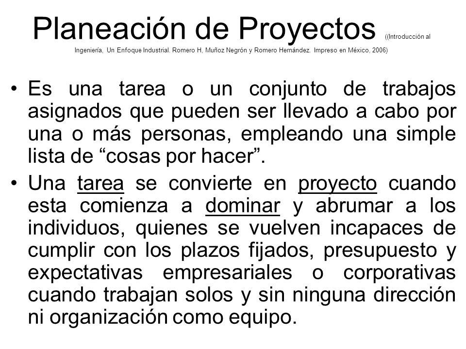 Planeación de Proyectos ((Introducción al Ingeniería, Un Enfoque Industrial. Romero H, Muñoz Negrón y Romero Hernández. Impreso en México, 2006)
