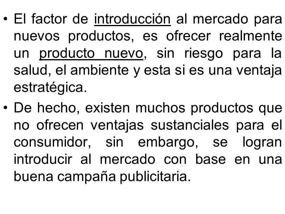 El factor de introducción al mercado para nuevos productos, es ofrecer realmente un producto nuevo, sin riesgo para la salud, el ambiente y esta si es una ventaja estratégica.