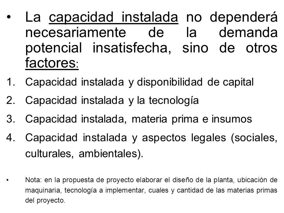 La capacidad instalada no dependerá necesariamente de la demanda potencial insatisfecha, sino de otros factores: