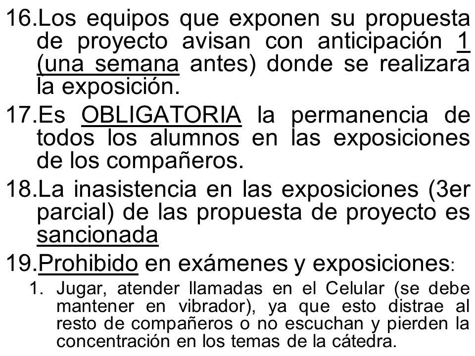 Prohibido en exámenes y exposiciones: