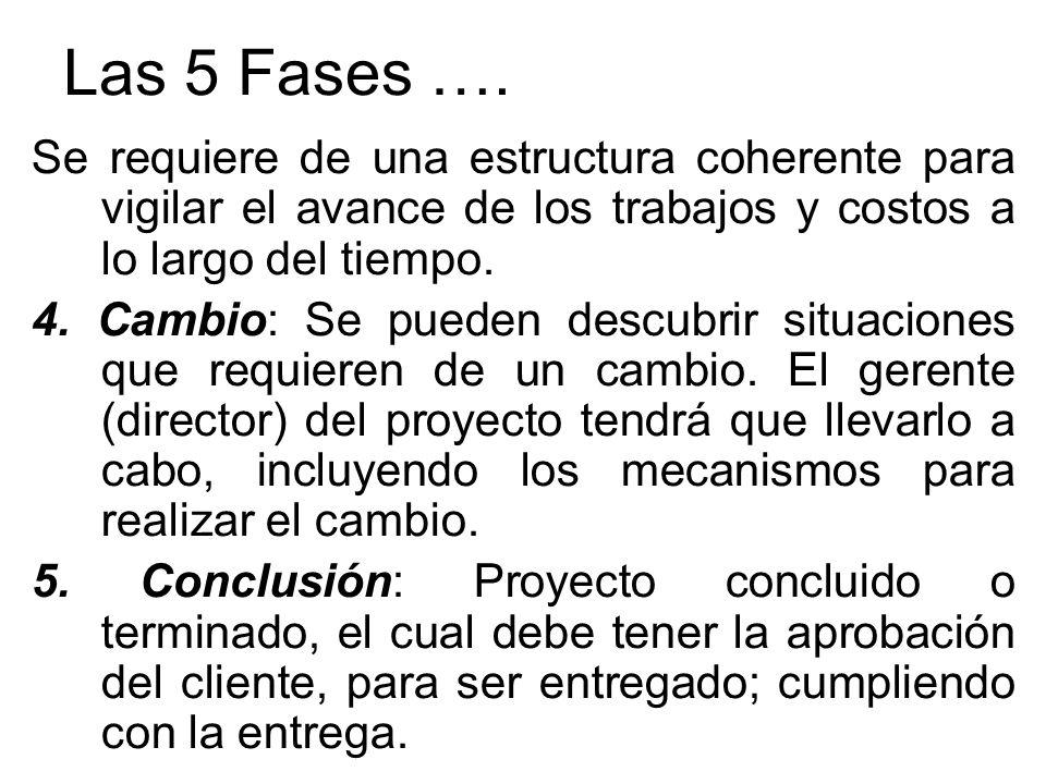 Las 5 Fases …. Se requiere de una estructura coherente para vigilar el avance de los trabajos y costos a lo largo del tiempo.