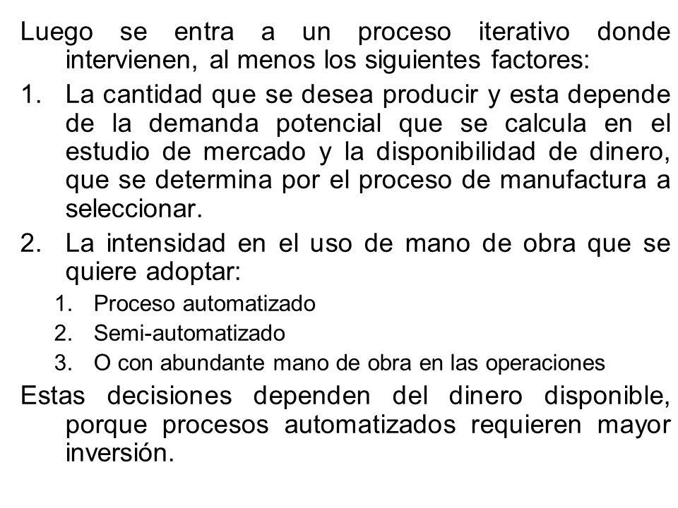 La intensidad en el uso de mano de obra que se quiere adoptar: