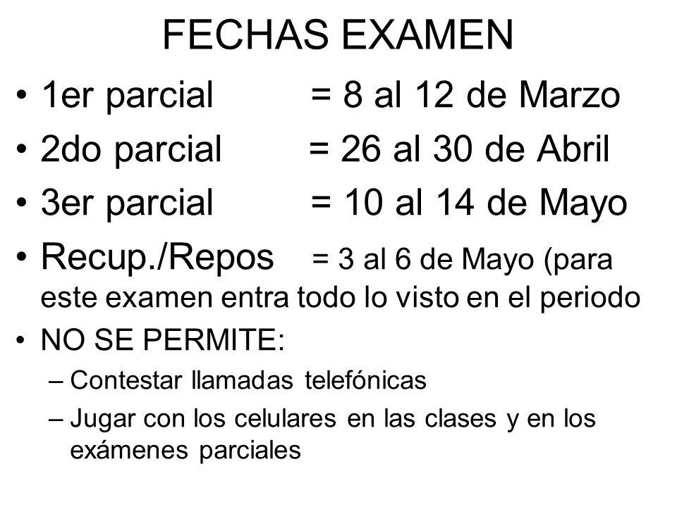 FECHAS EXAMEN 1er parcial = 8 al 12 de Marzo