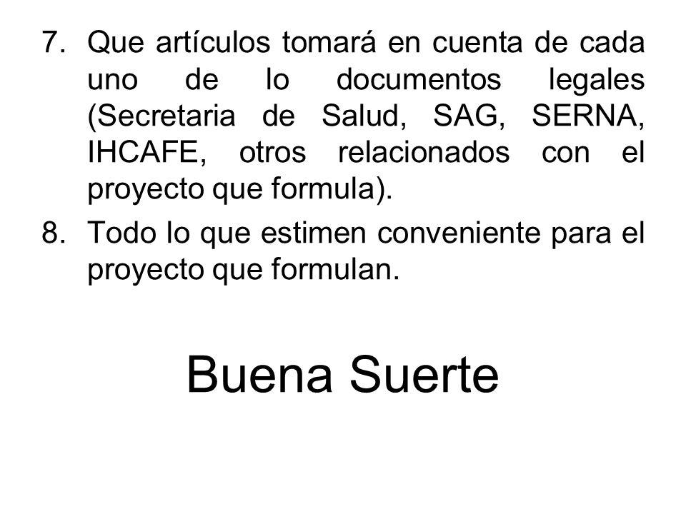 Que artículos tomará en cuenta de cada uno de lo documentos legales (Secretaria de Salud, SAG, SERNA, IHCAFE, otros relacionados con el proyecto que formula).