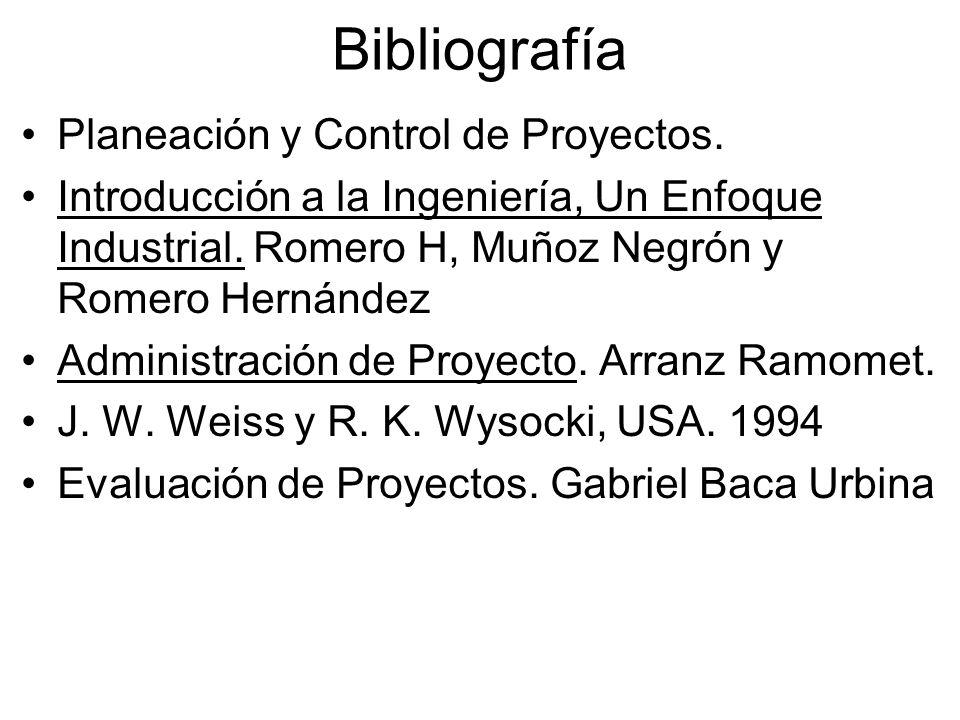 Bibliografía Planeación y Control de Proyectos.