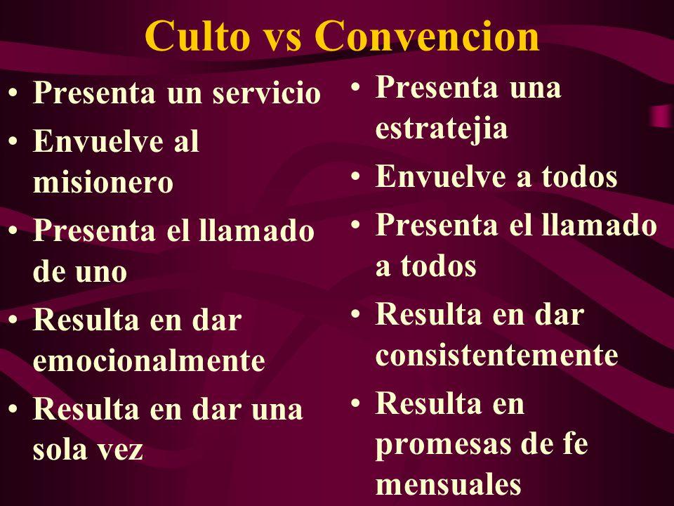 Culto vs Convencion Presenta una estratejia Presenta un servicio