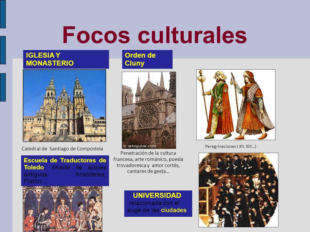 Focos culturales IGLESIA Y MONASTERIO Orden de Cluny UNIVERSIDAD