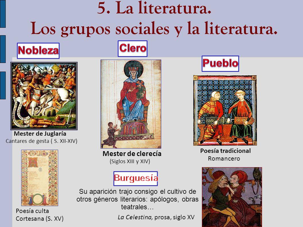 5. La literatura. Los grupos sociales y la literatura.