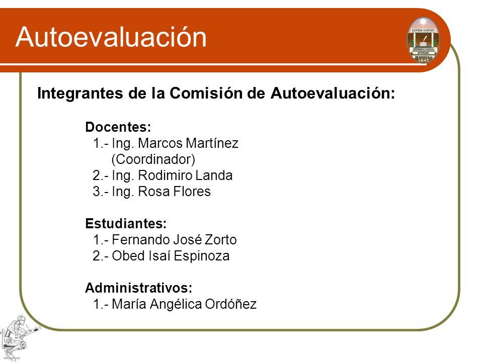Autoevaluación Integrantes de la Comisión de Autoevaluación: Docentes: