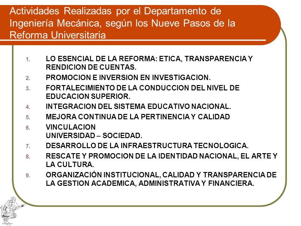 Actividades Realizadas por el Departamento de Ingeniería Mecánica, según los Nueve Pasos de la Reforma Universitaria
