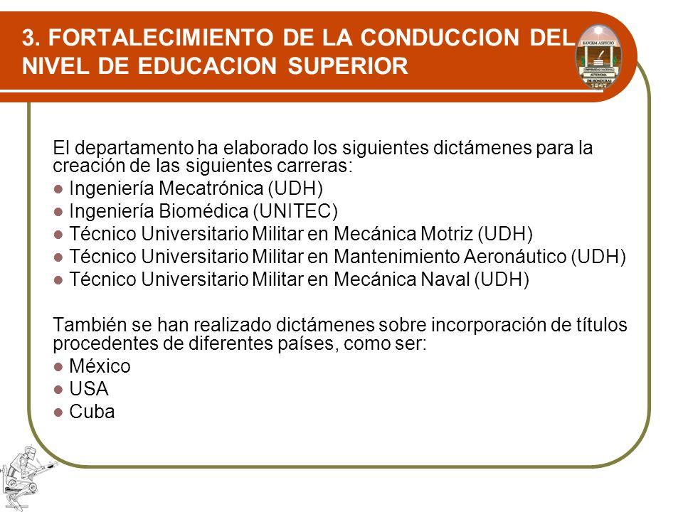 3. FORTALECIMIENTO DE LA CONDUCCION DEL NIVEL DE EDUCACION SUPERIOR