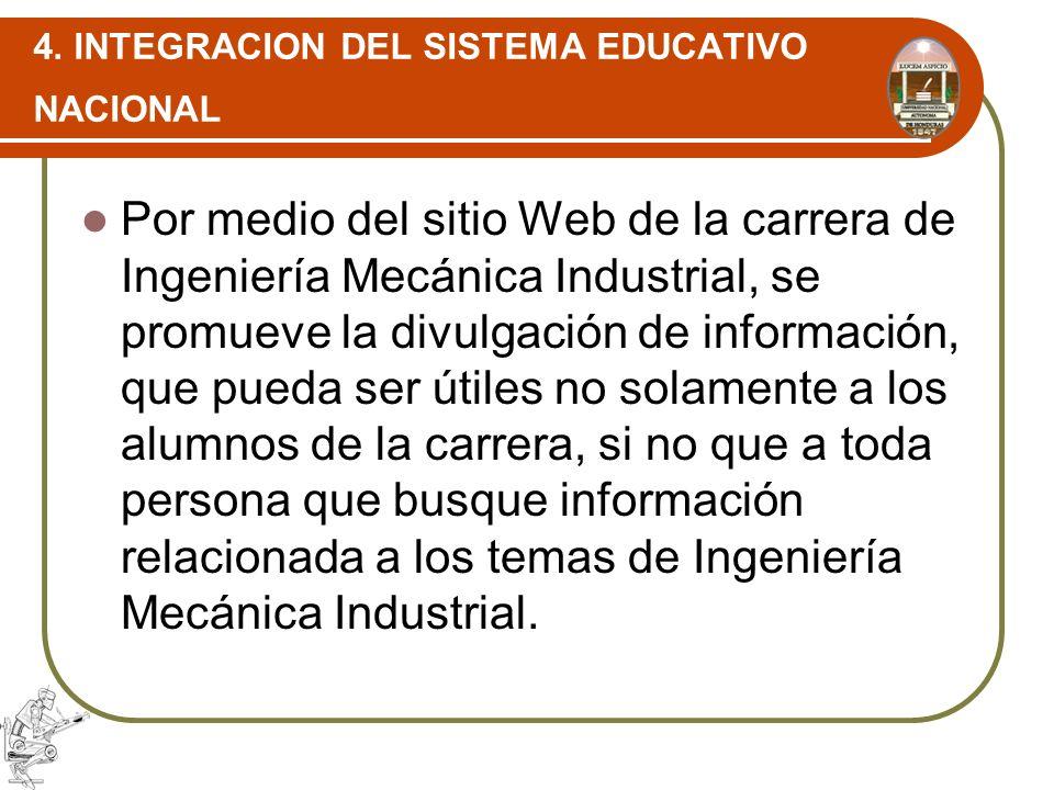 4. INTEGRACION DEL SISTEMA EDUCATIVO NACIONAL