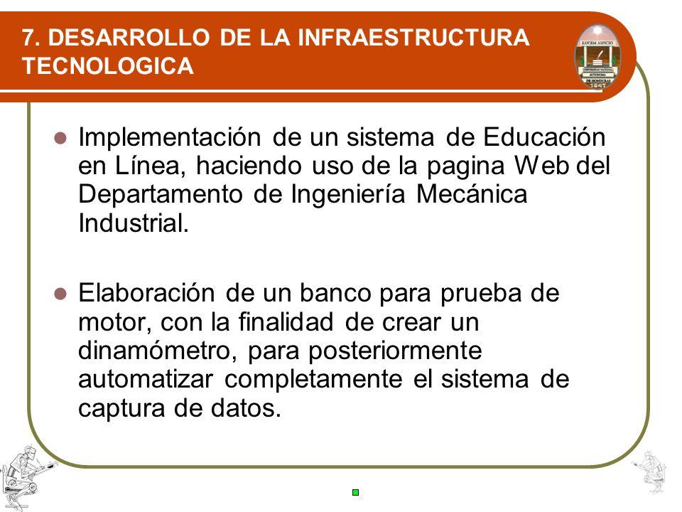 7. DESARROLLO DE LA INFRAESTRUCTURA TECNOLOGICA