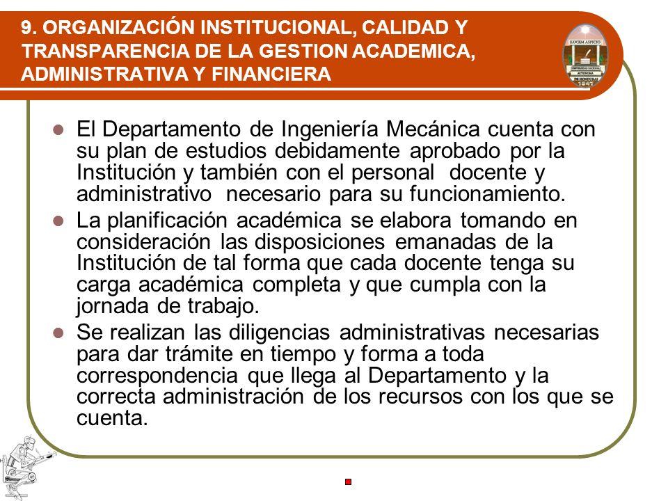 9. ORGANIZACIÓN INSTITUCIONAL, CALIDAD Y TRANSPARENCIA DE LA GESTION ACADEMICA, ADMINISTRATIVA Y FINANCIERA