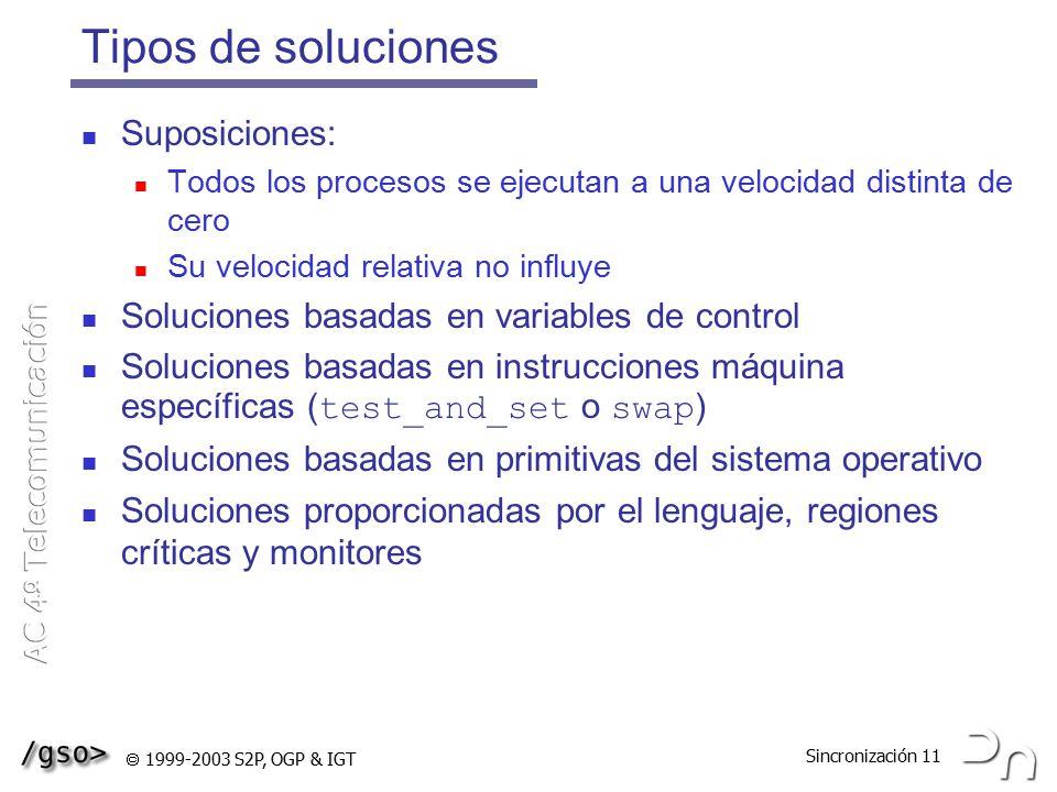 Tipos de soluciones Suposiciones:
