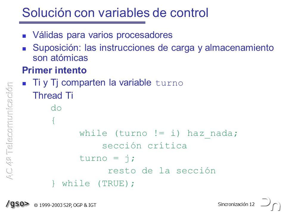 Solución con variables de control