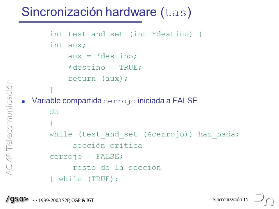 Sincronización hardware (tas)