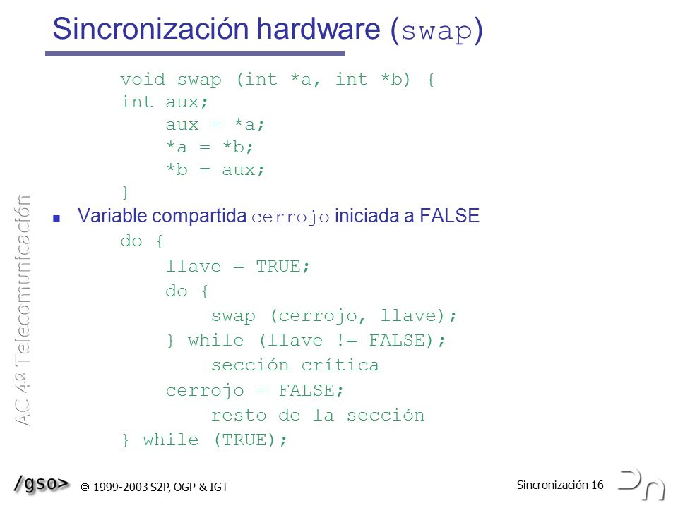 Sincronización hardware (swap)
