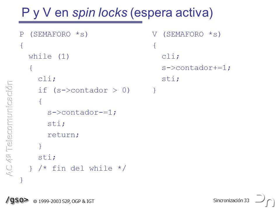 P y V en spin locks (espera activa)