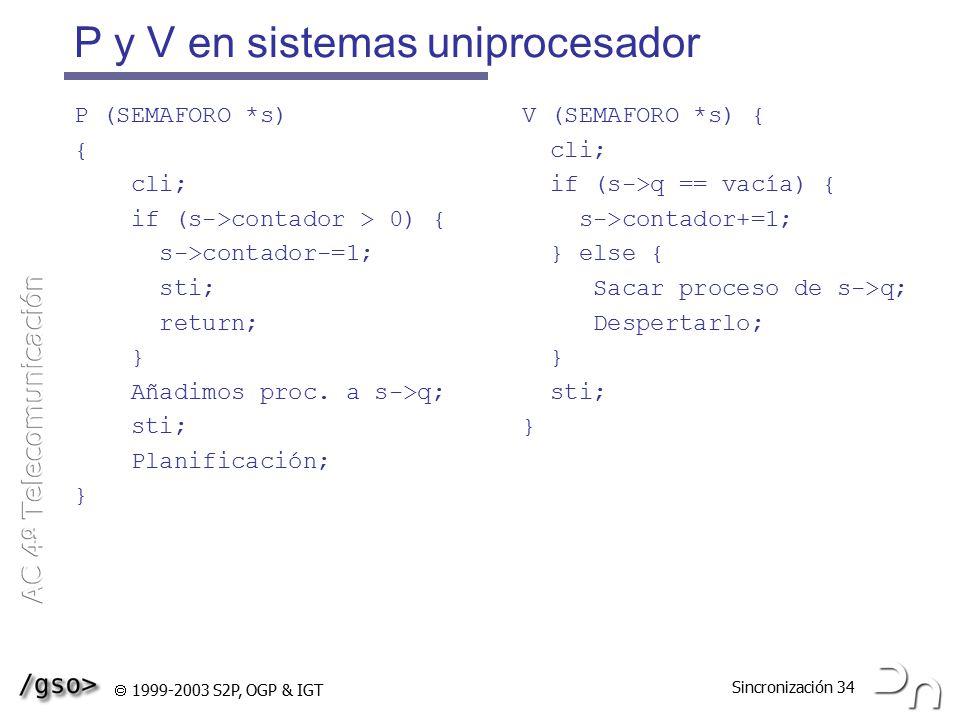 P y V en sistemas uniprocesador