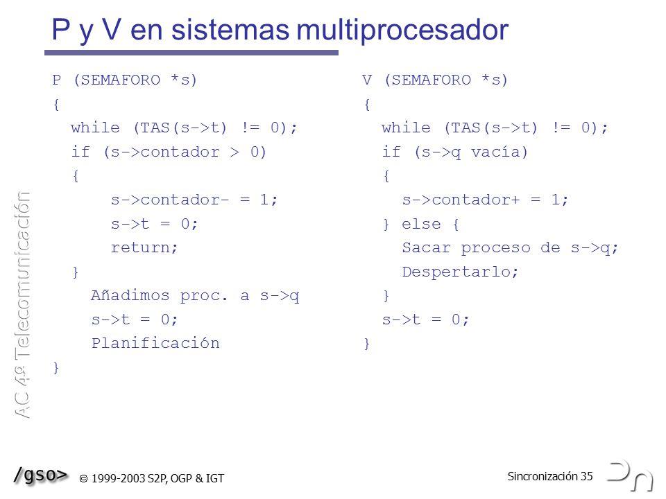 P y V en sistemas multiprocesador